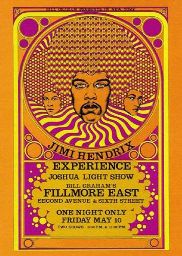 JIMI  HENDRIX - live at the fillmore canvas print - self adhesive poster - photo print